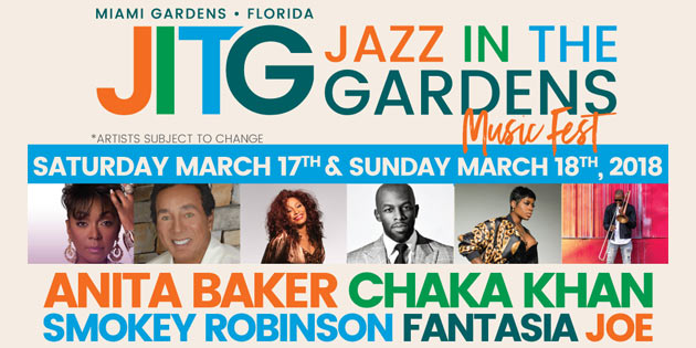 WIN TICKETS TO THE 13TH ANNUAL JAZZ IN THE GARDENS MUSIC FEST!